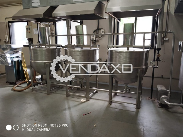 Available For Sale Used Mixing Tank- Transfer Pump- Kettles- All Piping Connections