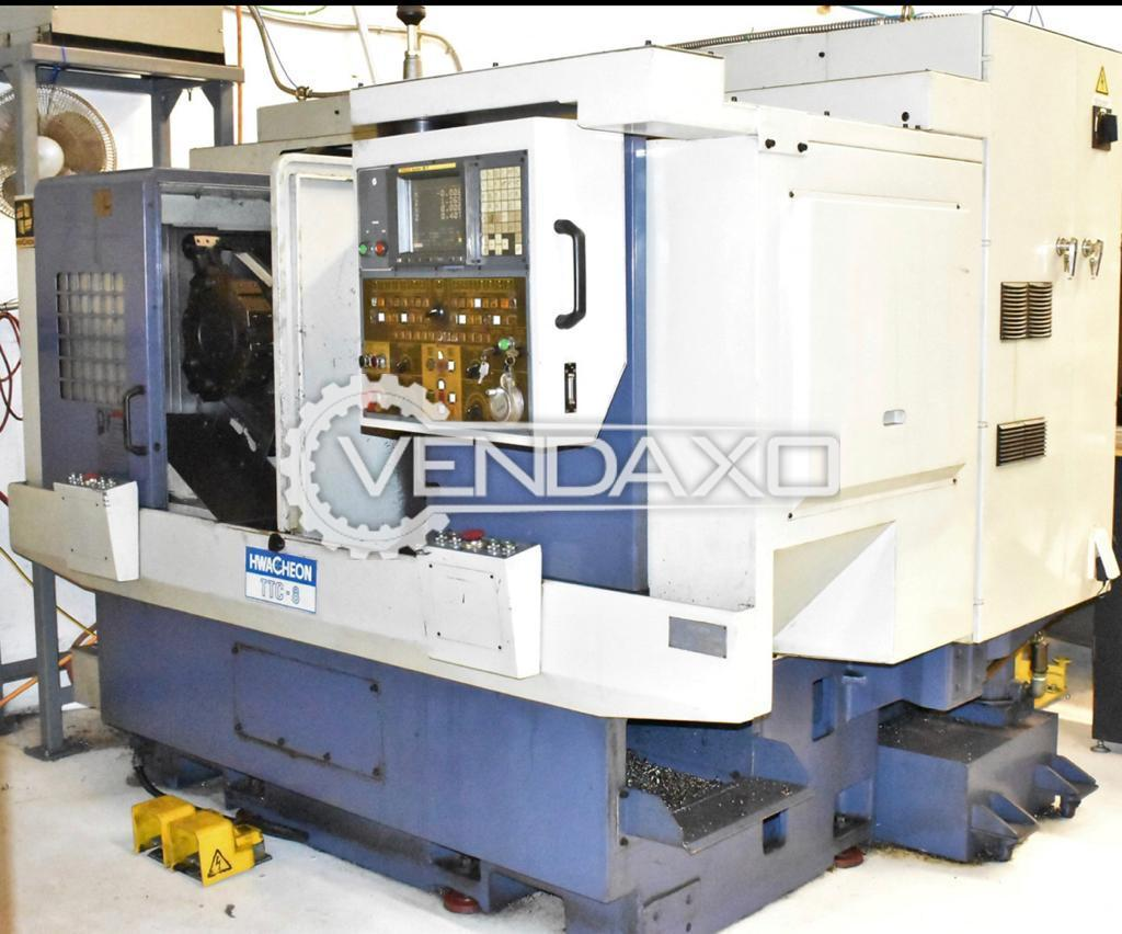 Hwacheon TTC-8 4 Axis CNC Twin Spindle Turret Turning Center - Chuck Size : 8 Inch