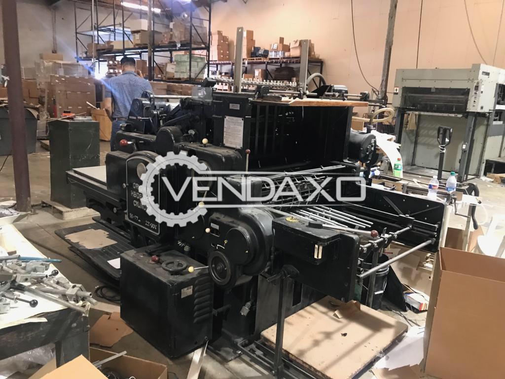 Heidelberg SBG(Black) Cylinder Die Cutter Machine - 22 x 30 Inch