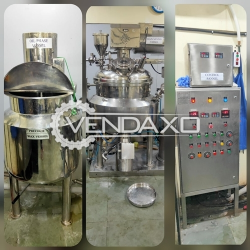 For Sale Used Shampoo Manufacturing Plant, Main Mixing Vessel (100 Kg), Oil & Storage Vessel, Bump Pump, 100 kg Olinment & Cream Plant