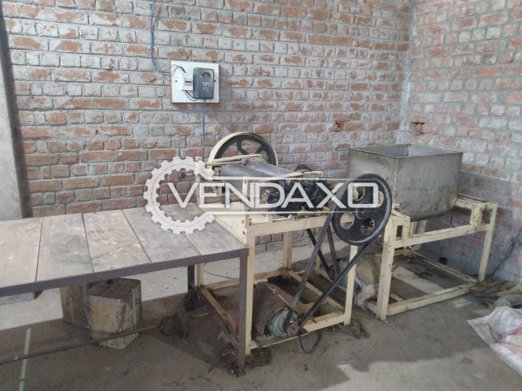 For Sale Used Kaju Shape Biscuit Machine With Mixture, Shatter, Double Trolley Rotary Rack Oven