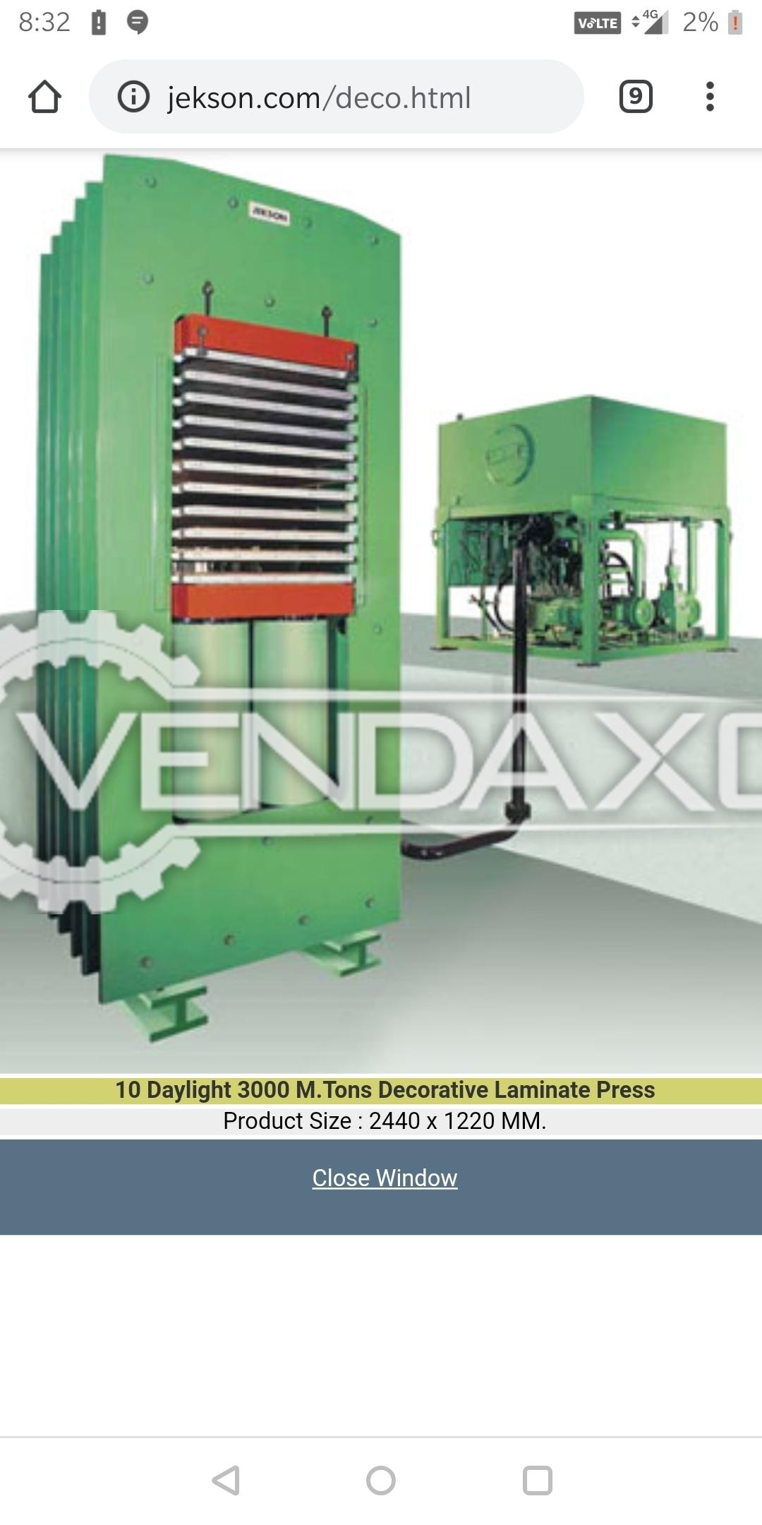 BFW Jackson Plywood Hydraulic Press - Length - 3000 mm