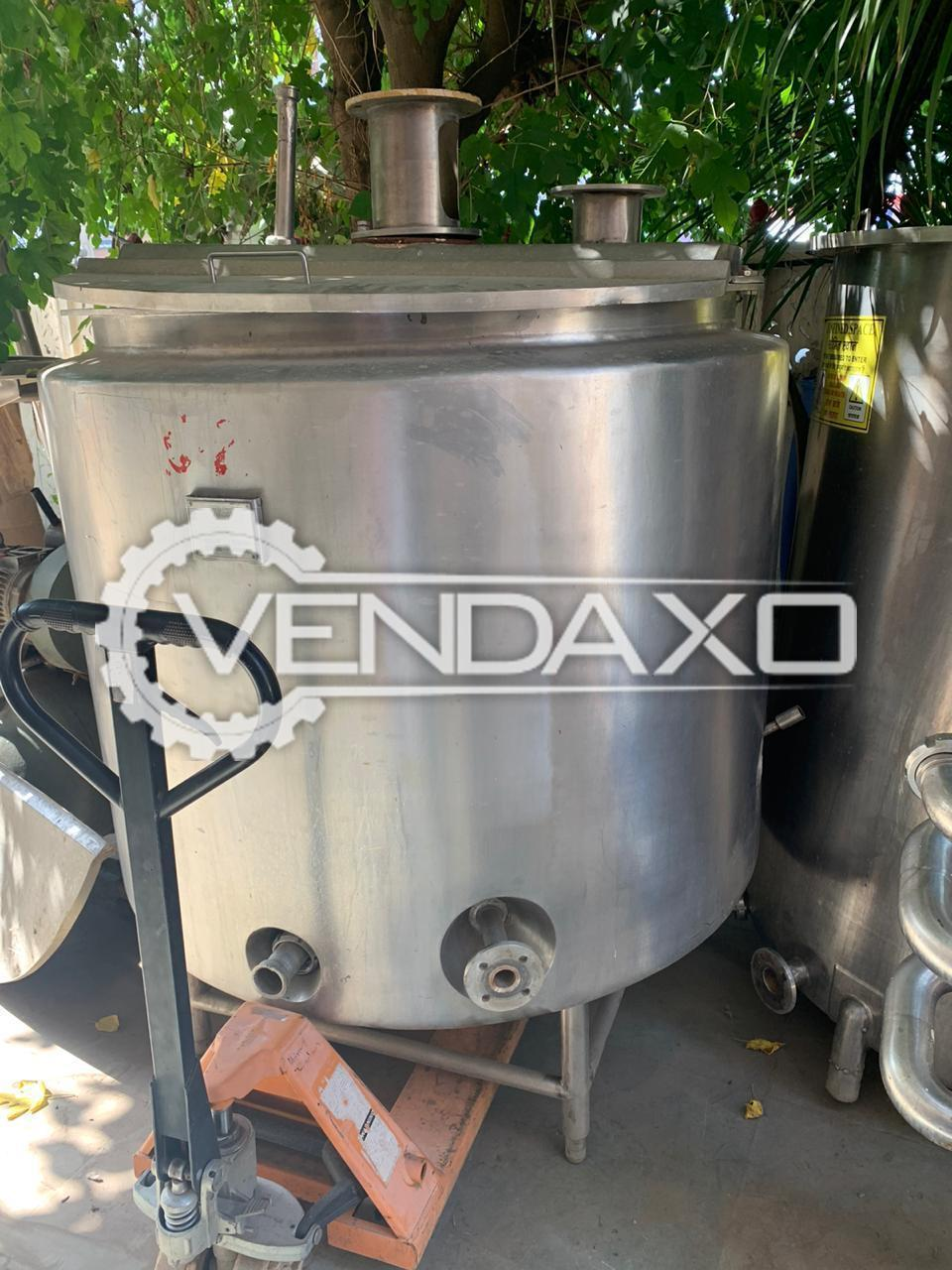 For Sale Used Jacketed Mixing Vessel - 1500 Liter