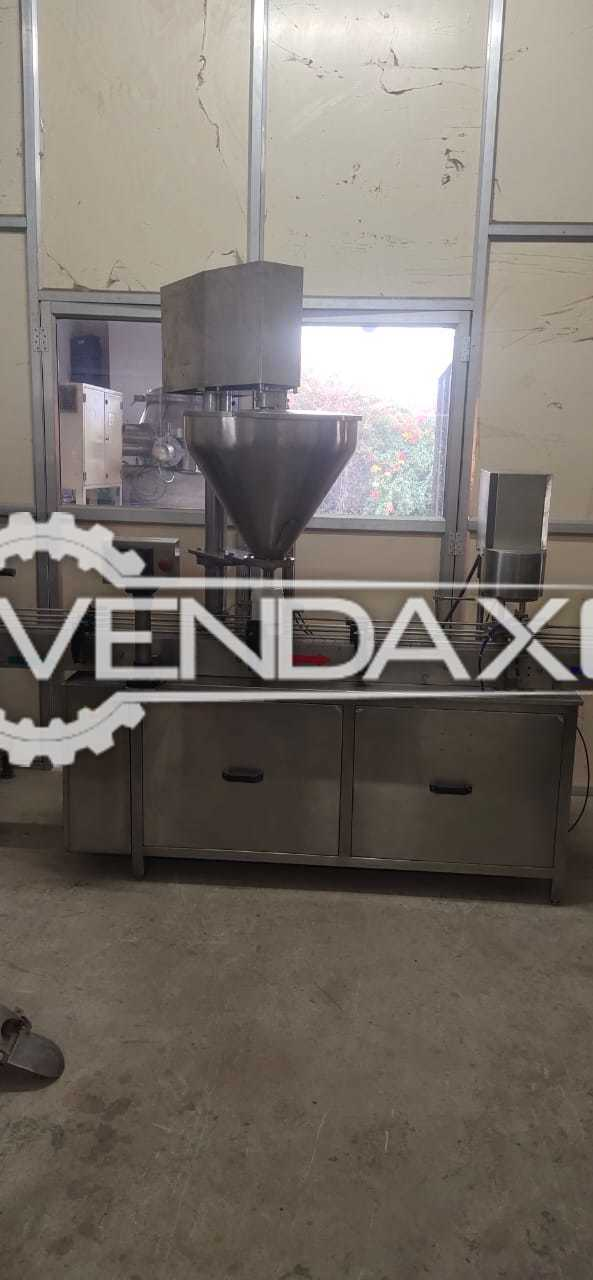 For Sale Used Automatic Auger Type Powder Filling Machine - 1 KG With Bottle Cap Pressing Unit