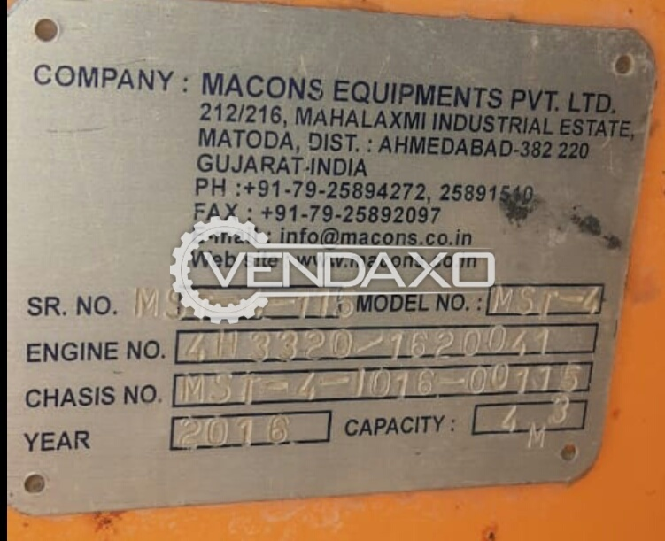 Macons MST-4 Self Loader Concrete Mixer - 4 Cum