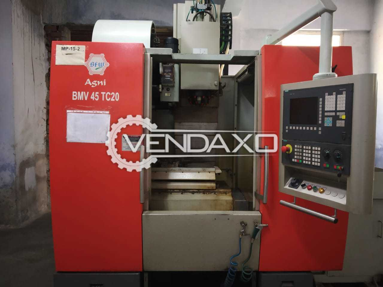 For Sale Used BFW Agni BMV45TC20 CNC Vertical Machining Center VMC - 450 x 900 mm With Accessory