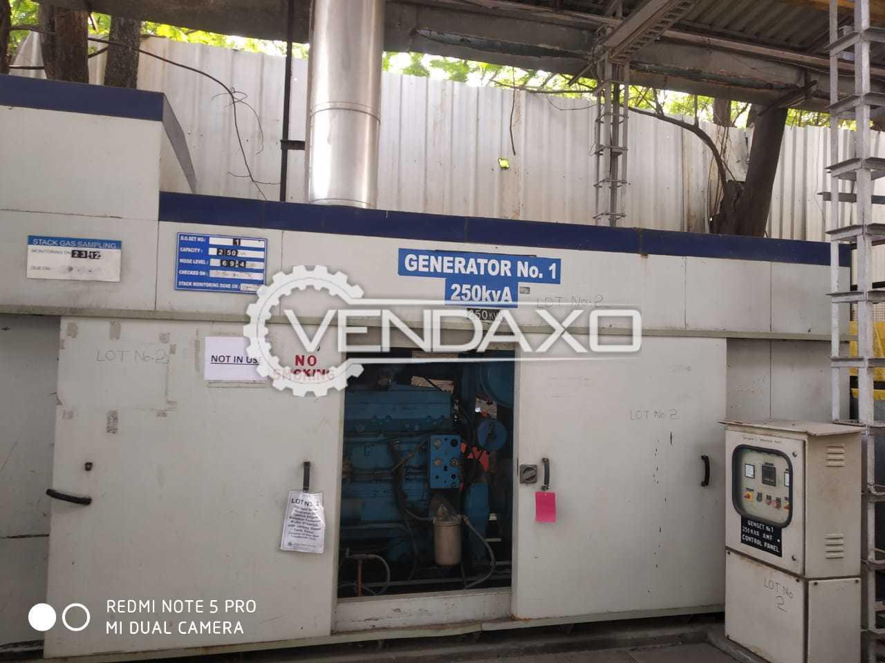 For Sale Used Kirloskar Diesel Generator - 250 Kva