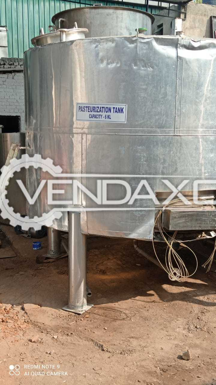 For Sale Used Pasteurization Storage Tank - 6 KL