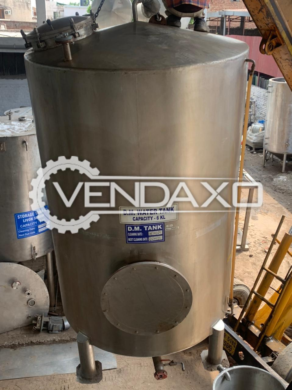For Sale Used D.M Water Storage Tank - 6 KL