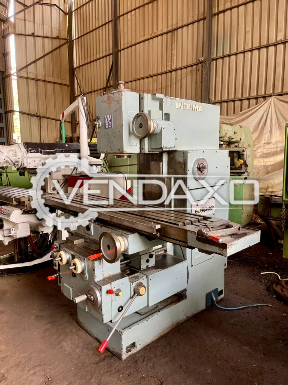 Induma Vertical Milling Machine - Table Size - 1800 x 400 mm