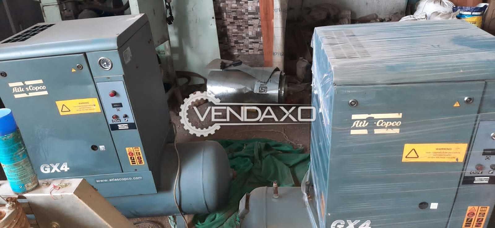 2 Set of Atlas Copco GX4P-200 Rotary Screw Air Compressor - 5 HP, 2012 Model