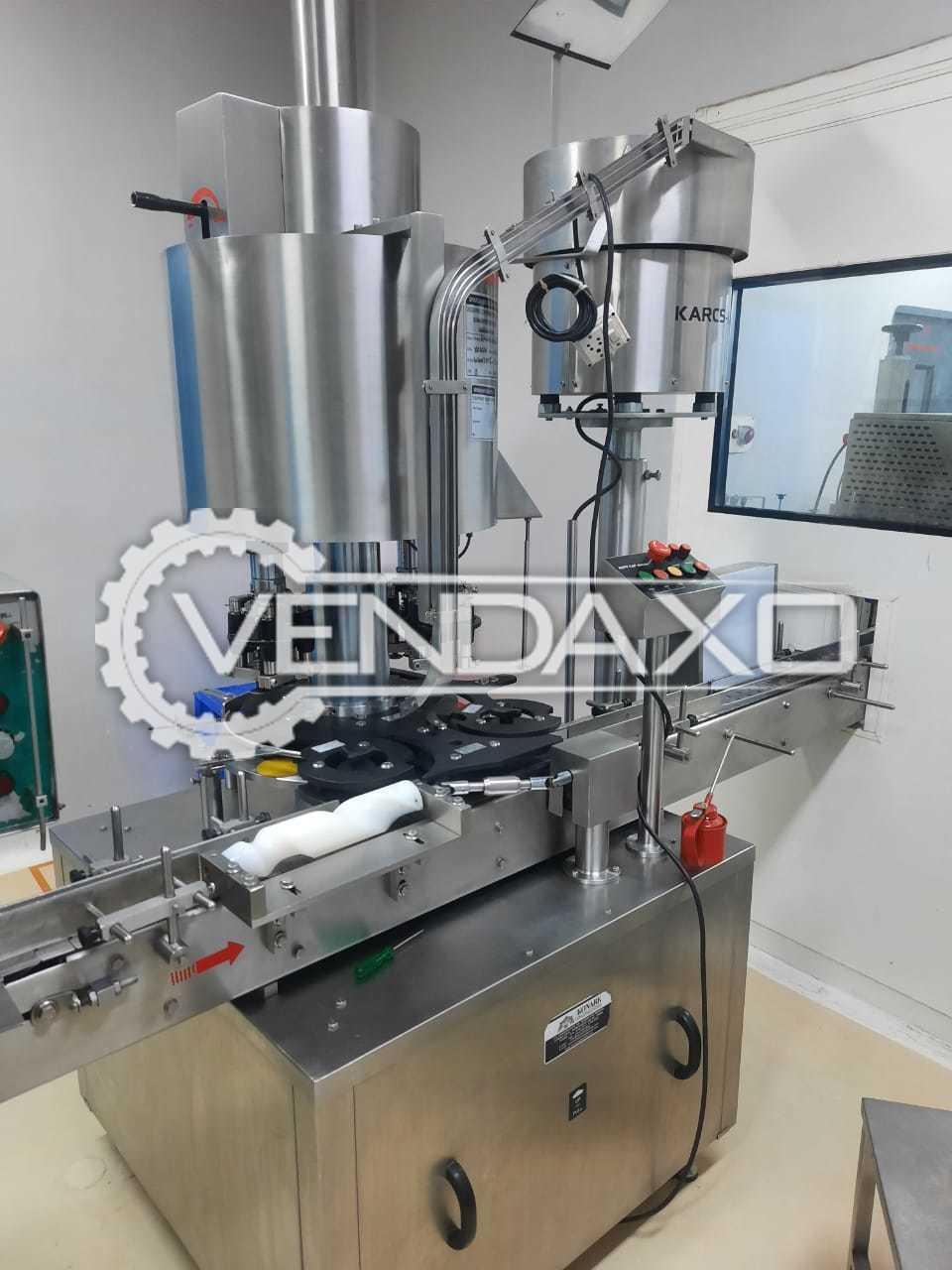 Auto Fill Powder Filing Machine & Konark Scrue Caping & 4 Head Ropp Machine