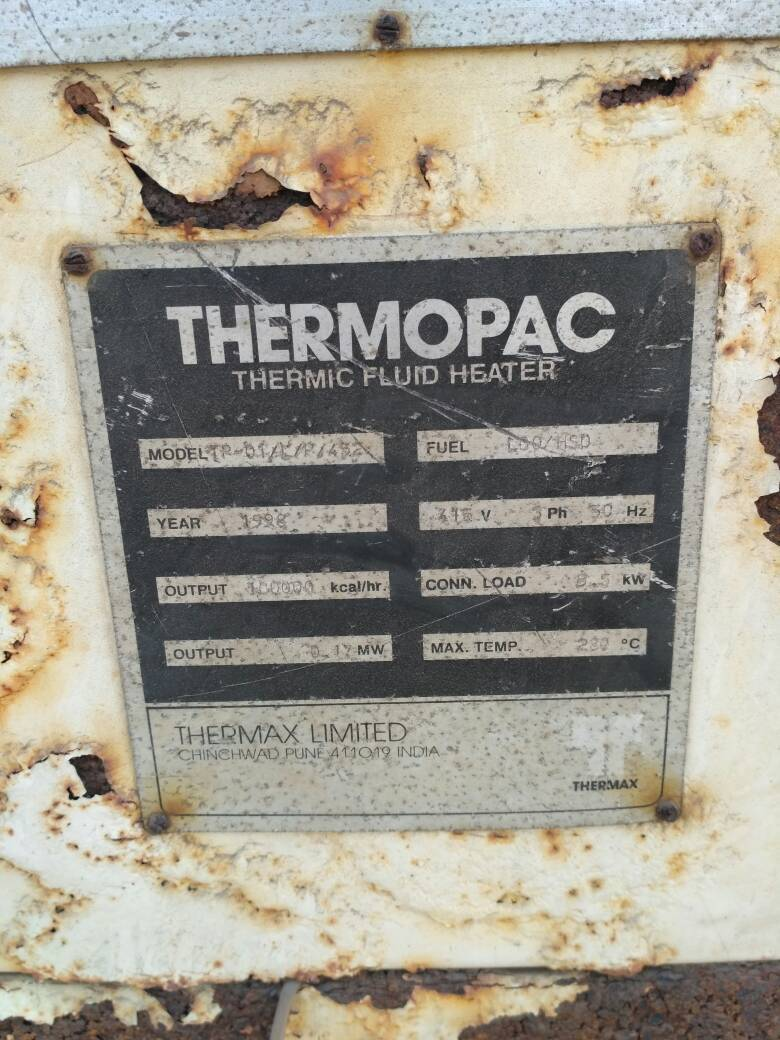 Thermic fluid heater with panel 1