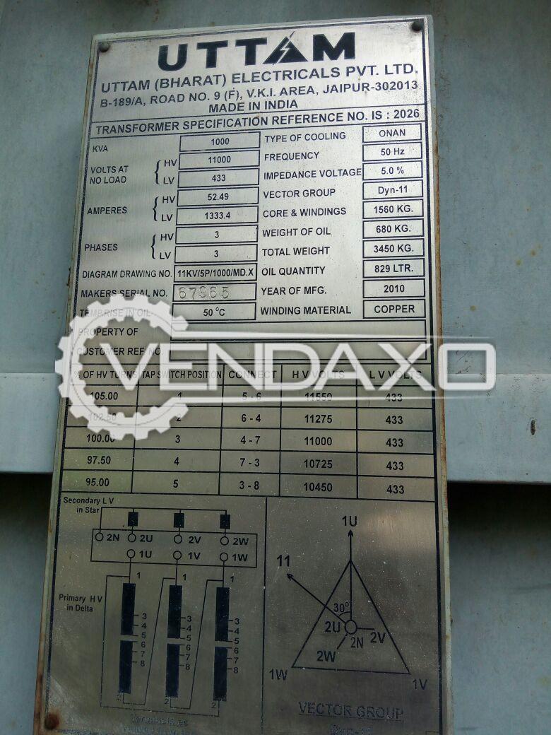 Uttam Bharat Transformer - 1000 Kva