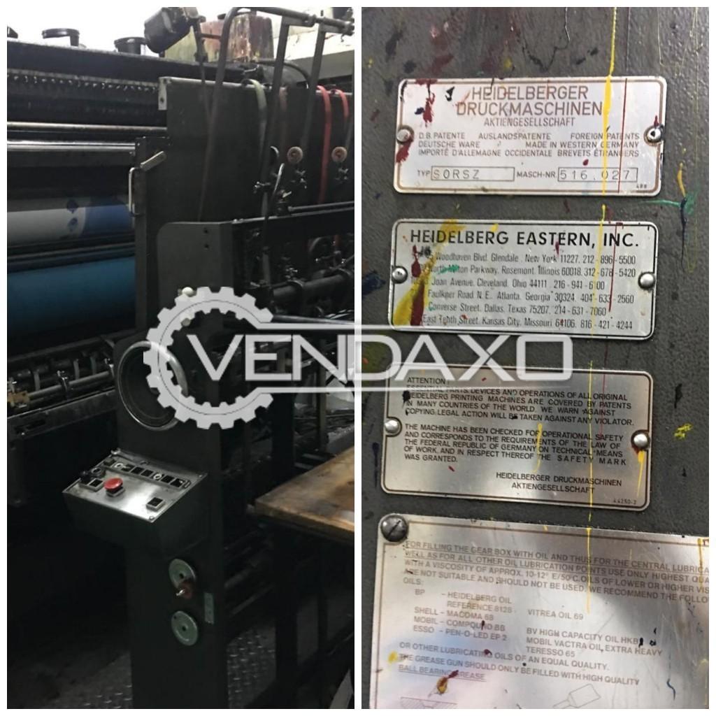 Heidelberg SORSZ Offset Printing Machine - 28 x 40 Inch ,  2 Color
