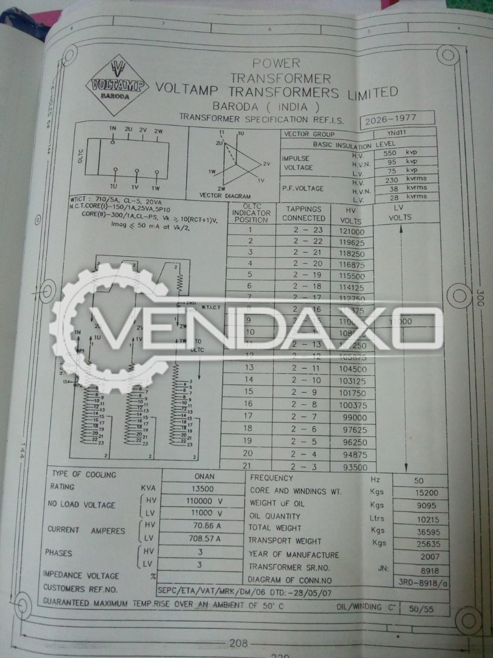 Voltamp Transformer - 11 / 110 Kva