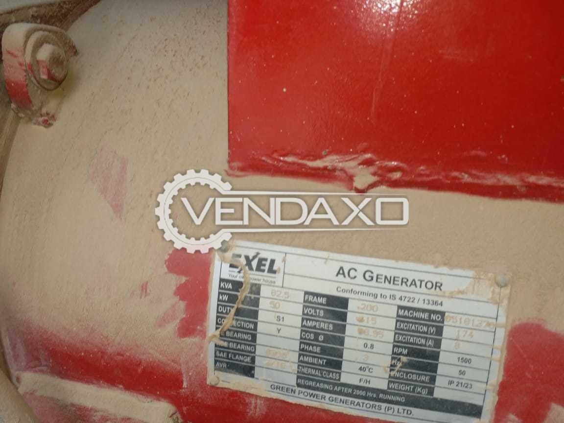 EXEL AC Generator -  62.5 Kva , 50 KW