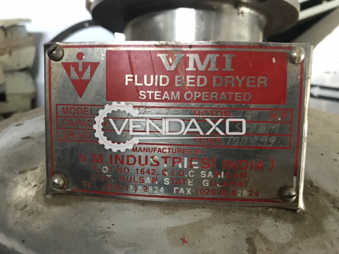 VMI Fluid Bed Dryer - 15 KG - GMP Model