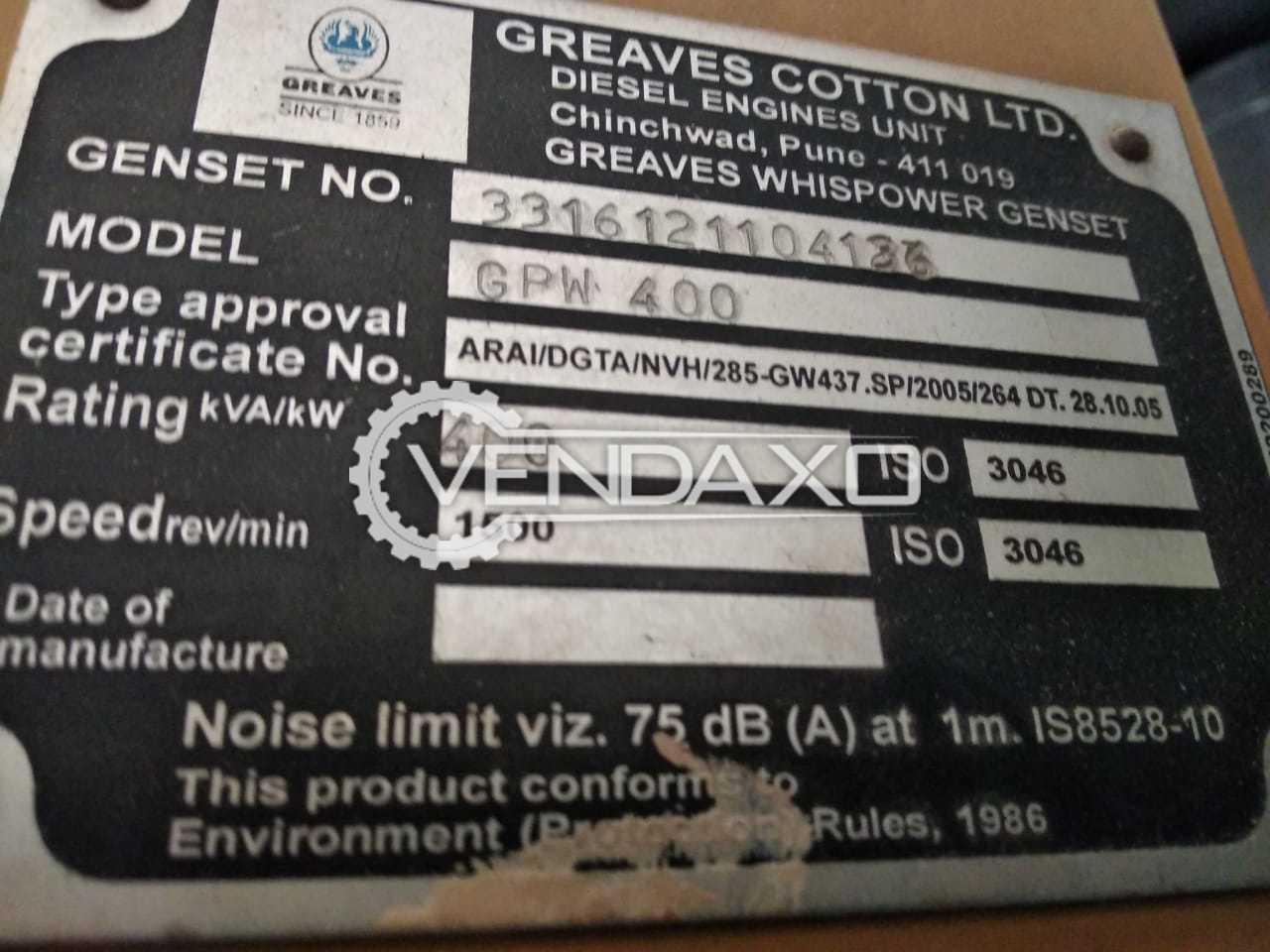 Greaves GPW-400 AC Generator - 400 KVA , 2012 Model