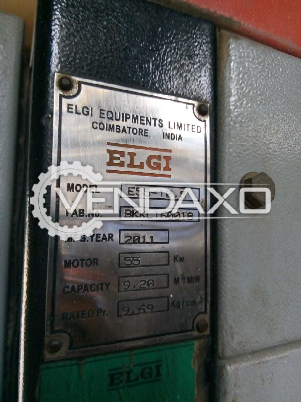 Elgi E55-10.5 Rotary Screw Air Compressor - 55 KW , 75 HP , 2011 Model