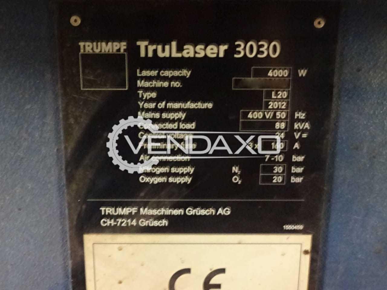 Trumpf TruLaser 3030 Laser Cutting Machine , Laser Type - CO2 , 4 KW