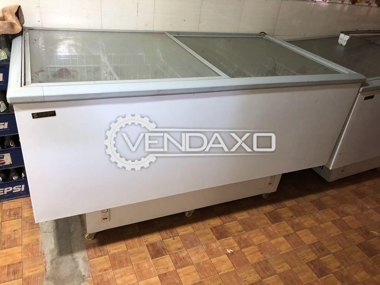 Used Elanpro Double Glass Door Deep Freezer Capacity 555 Liter
