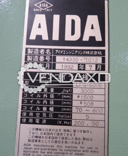 AIDA LFG-600E Feeder Unit - Coil inside Diameter - 508 mm , Coil Outside Diameter - 1500 mm