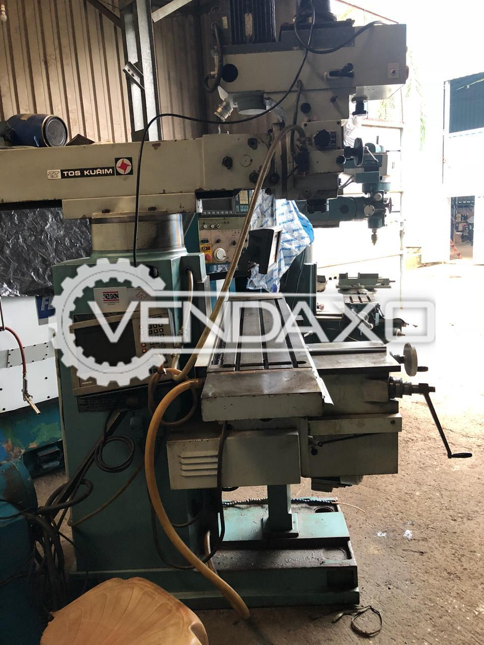 TOS FNK-25A Milling Machine - Table Size - 1230 x 300 mm With DRO