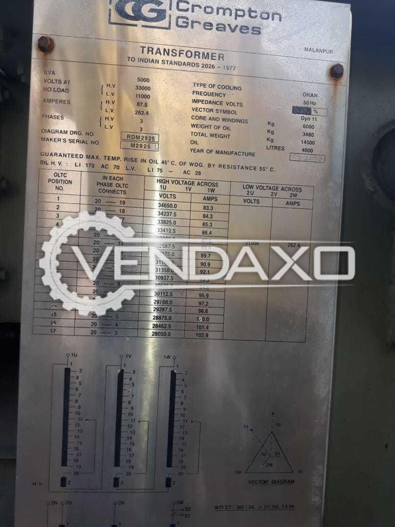 Crompton Greves Transformer - 5000 Kva, 2007 Model