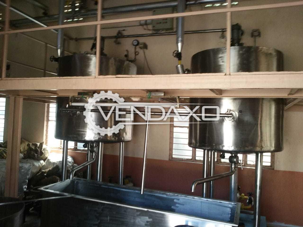 Ghee Kettle Plant - 300 Liter With Boiler - 750 Liter