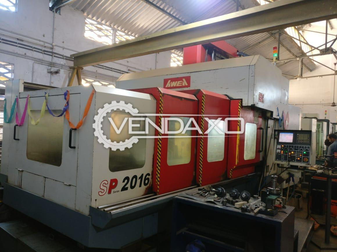Awea Make SP 2016 Double Column CNC Vertical Machining Center - Table Size - 2300 x 1550 mm
