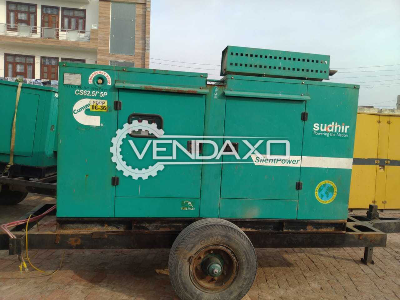Cummins Silent Diesel Generator - 62.5 kva