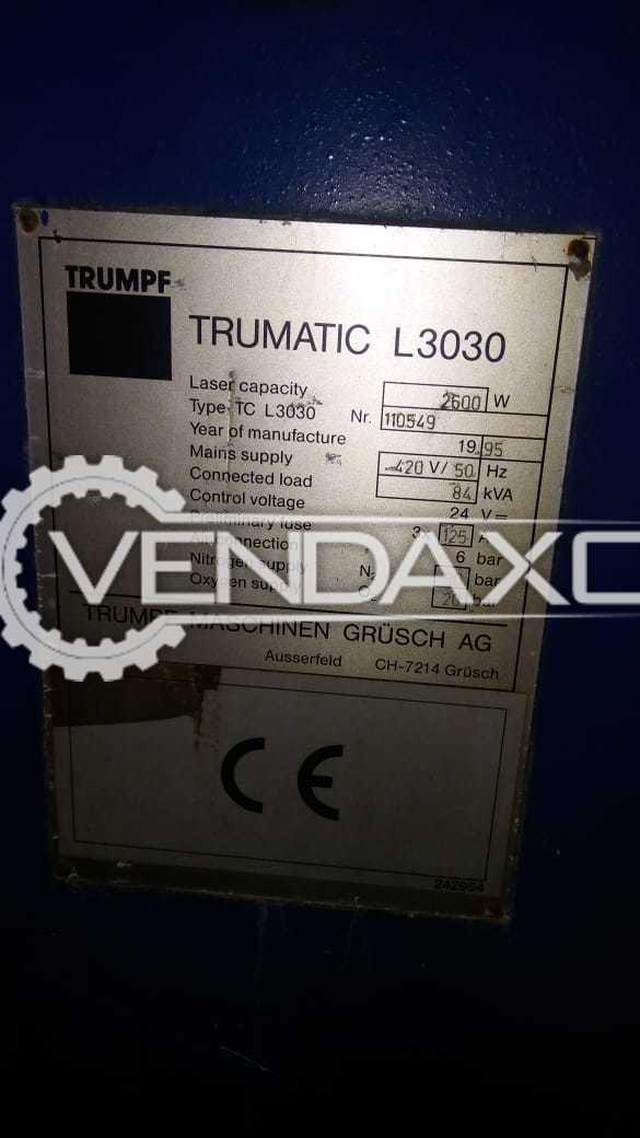 Used Trumpf Trumatic L3030 Laser Cutting Machine - Laser Power