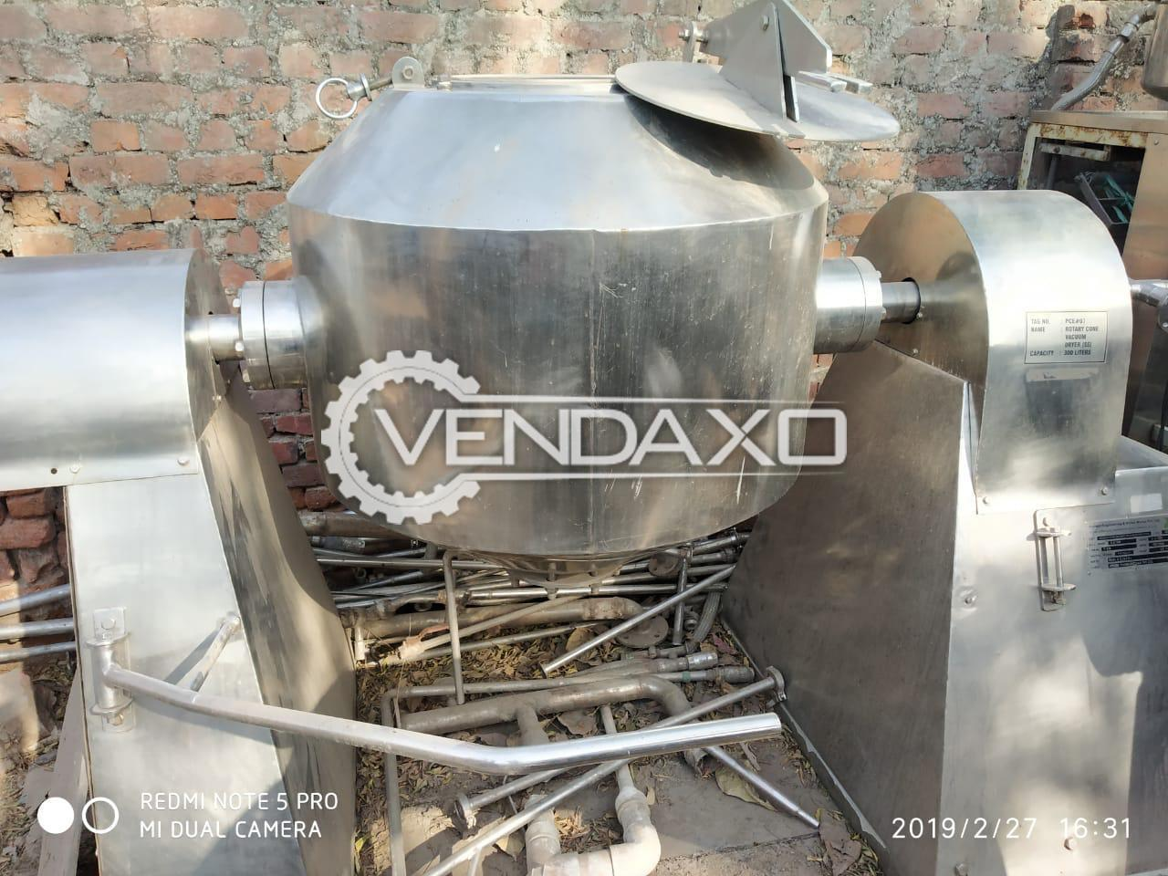 Double Cone Rotary Vacuum Dryer (RVD) - 300 Ltr
