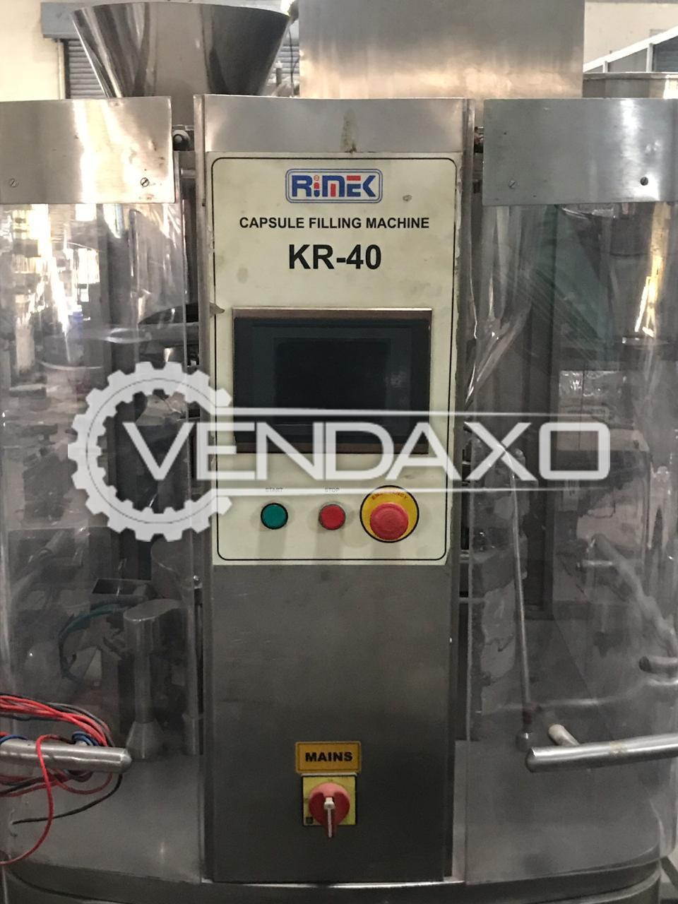 Rimek KR 40 Capsule Filling Machine - 6 Lakh / 8 Hours