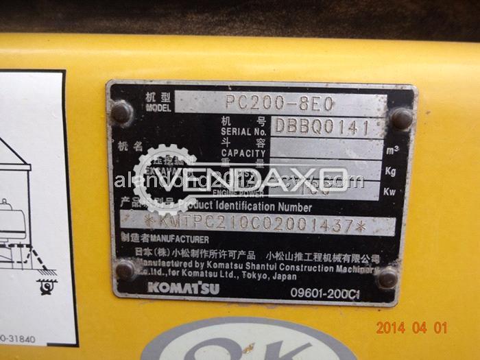 Used Komatsu PC200-8EO Crawler Excavator - 1 CBM for Sale at Best