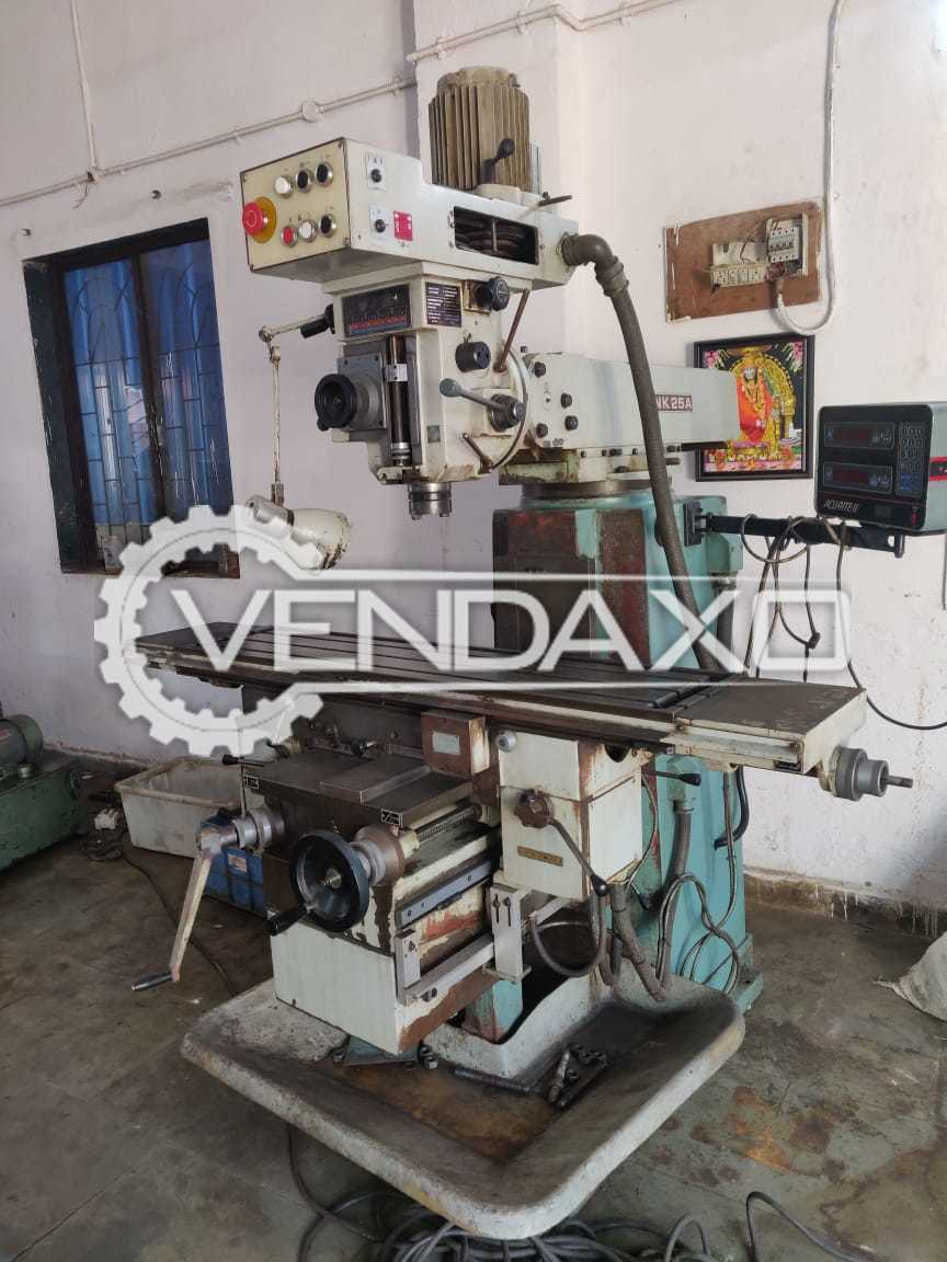 TOS FNK-25A Milling Machine - Table Size - 1230 x 300 mm