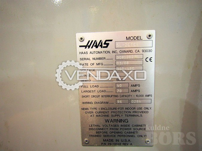 Used HAAS SL20 Make CNC Turning Center - Max.Cutting Diameter : 262 Haas Sl Wiring Diagram on
