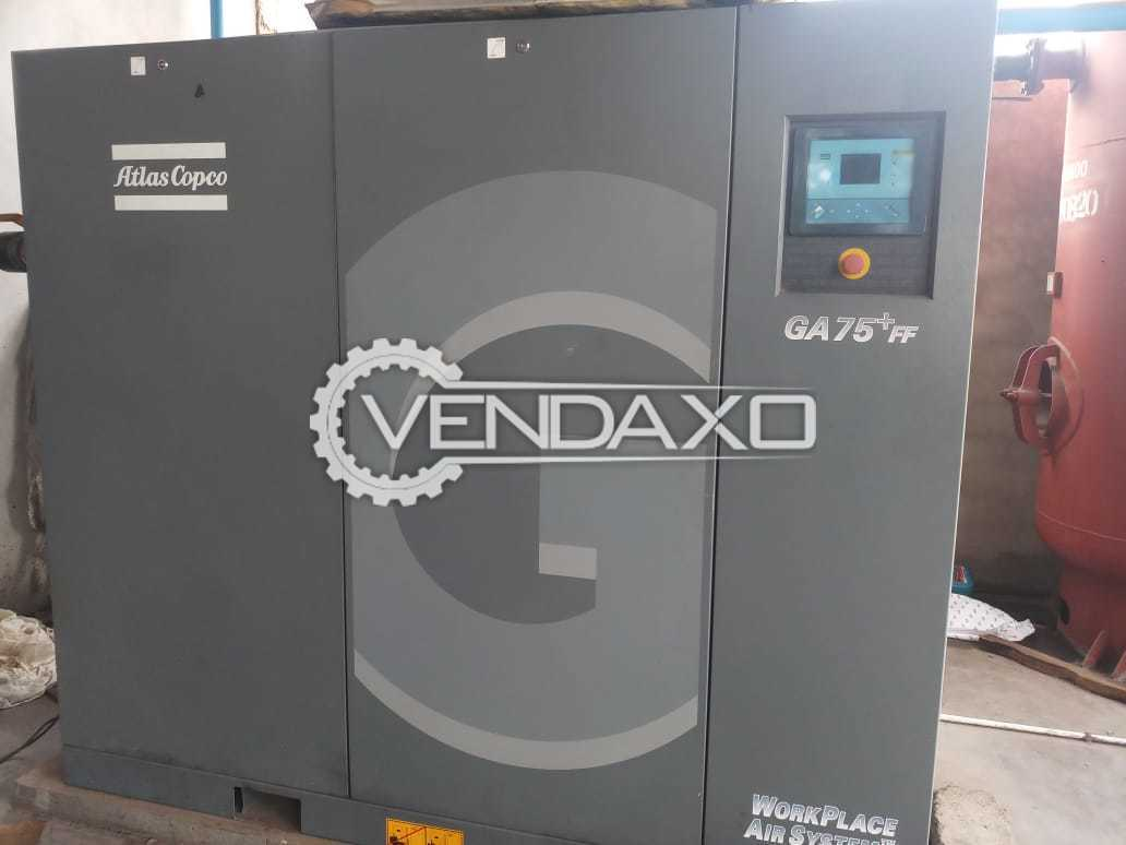 Atlas Copco GA 75+ FF Air Compressor - 75 kW, 2017 Model