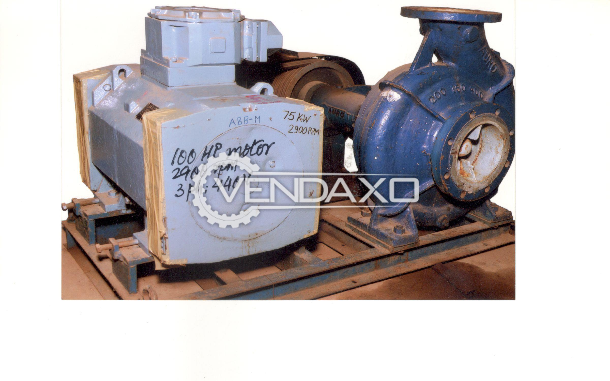 ABB make Motor - 100 HP With Base Frame & Centrifugal Pump