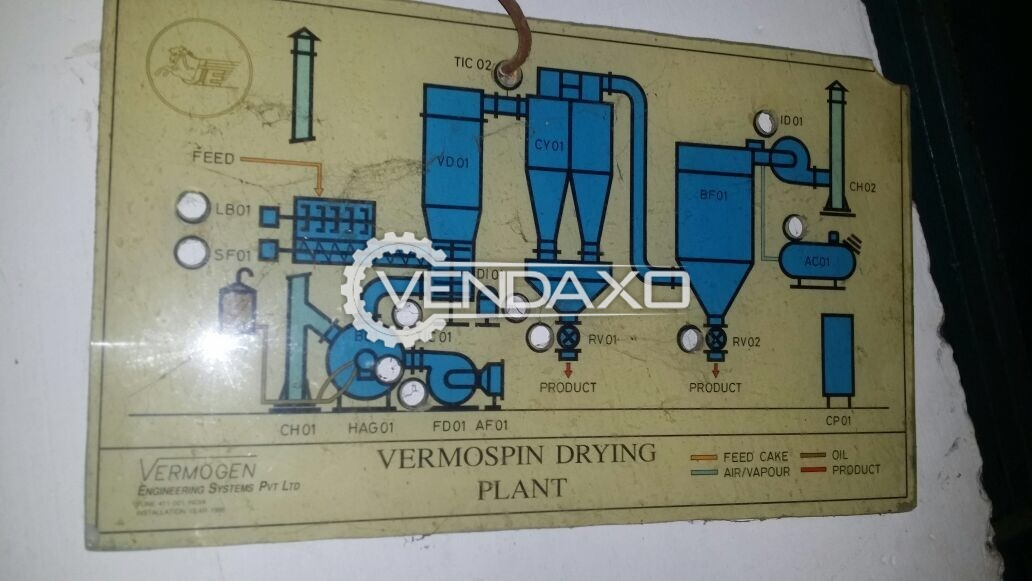 Vermogen Spin Flash Dryer With Hot Air Generator Gas Fired - 250 KG/HR