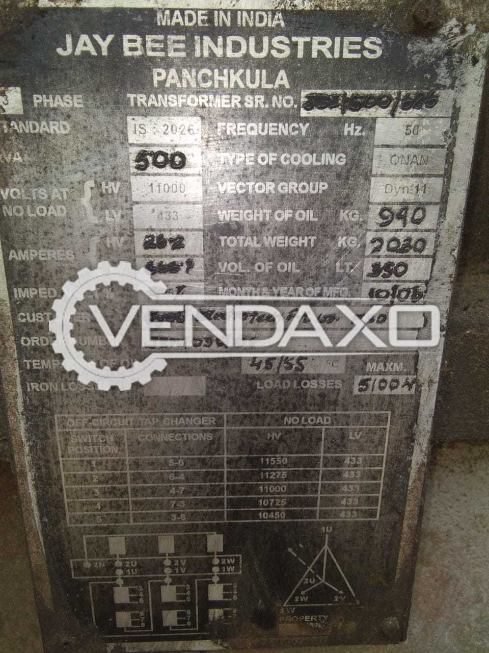 Jay Bee Industries Make Transformer - 500 Kva
