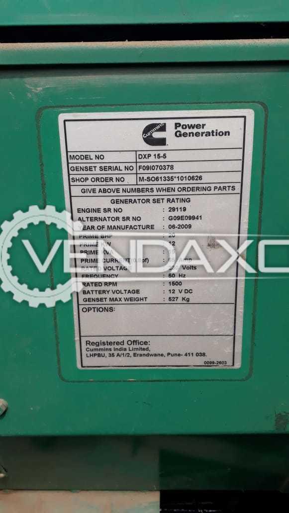 Cummins Sudhir Diesel Generator - 15 Kva, 2009 Model