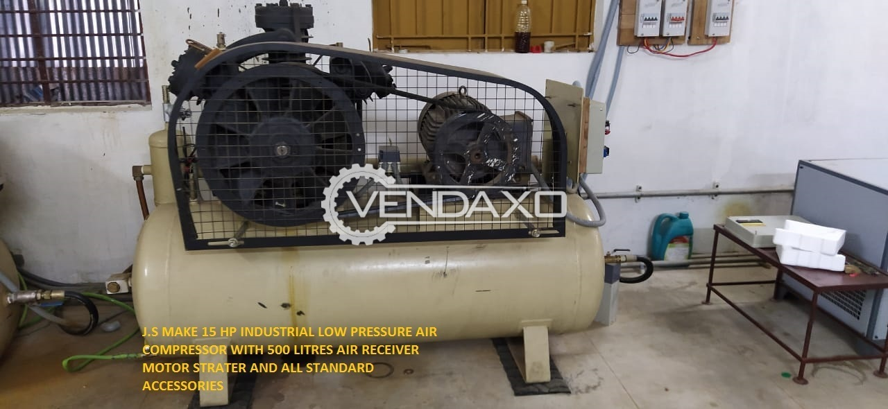 JS Make Industrial Low Pressure Air Compressor - 15 HP With Air Receiver