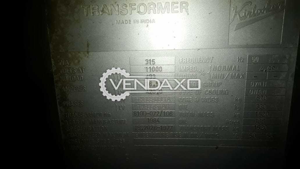 Kirloskar Transformer - 315 Kva